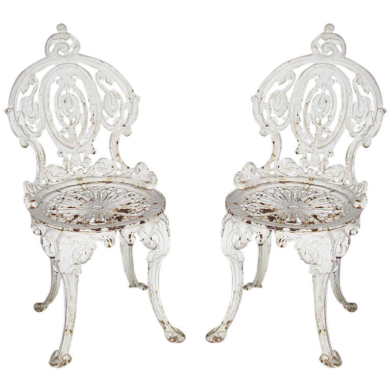 Pair of cast iron garden chairs at 1stdibs Cast iron garden furniture