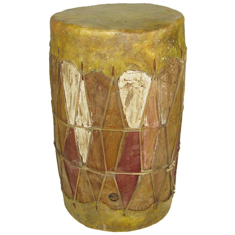 Pueblo Drum Or Side Table At 1stdibs