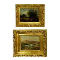 Pair of 19th Century Oil on Canvas, Shepherd and Summer Landscape Scenes