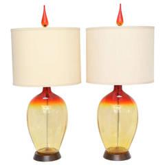 Pair of Vintage Tangerine Blenko Lamps