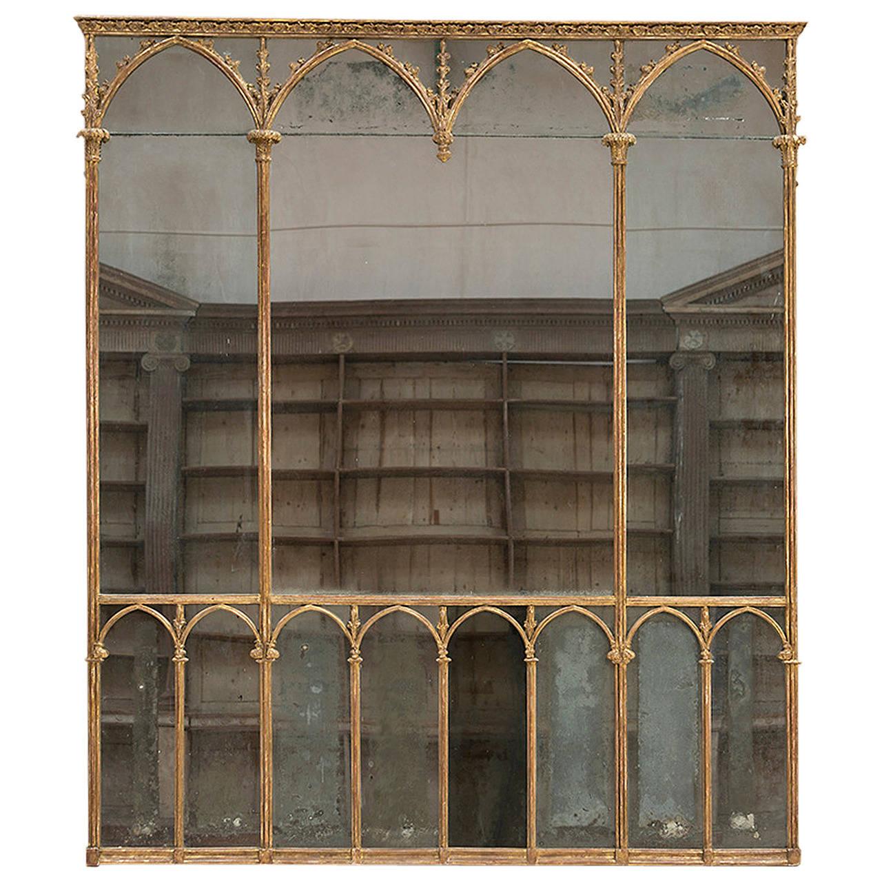 Large Giltwood Multi Paned Gothic Mirror Circa 1780 At