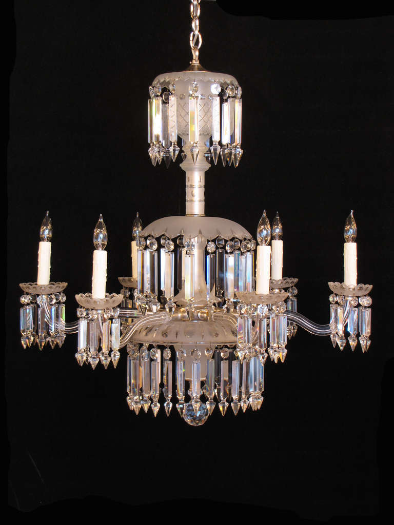 6 Arm 19th Century Frosted Crystal Gasolier At 1stdibs