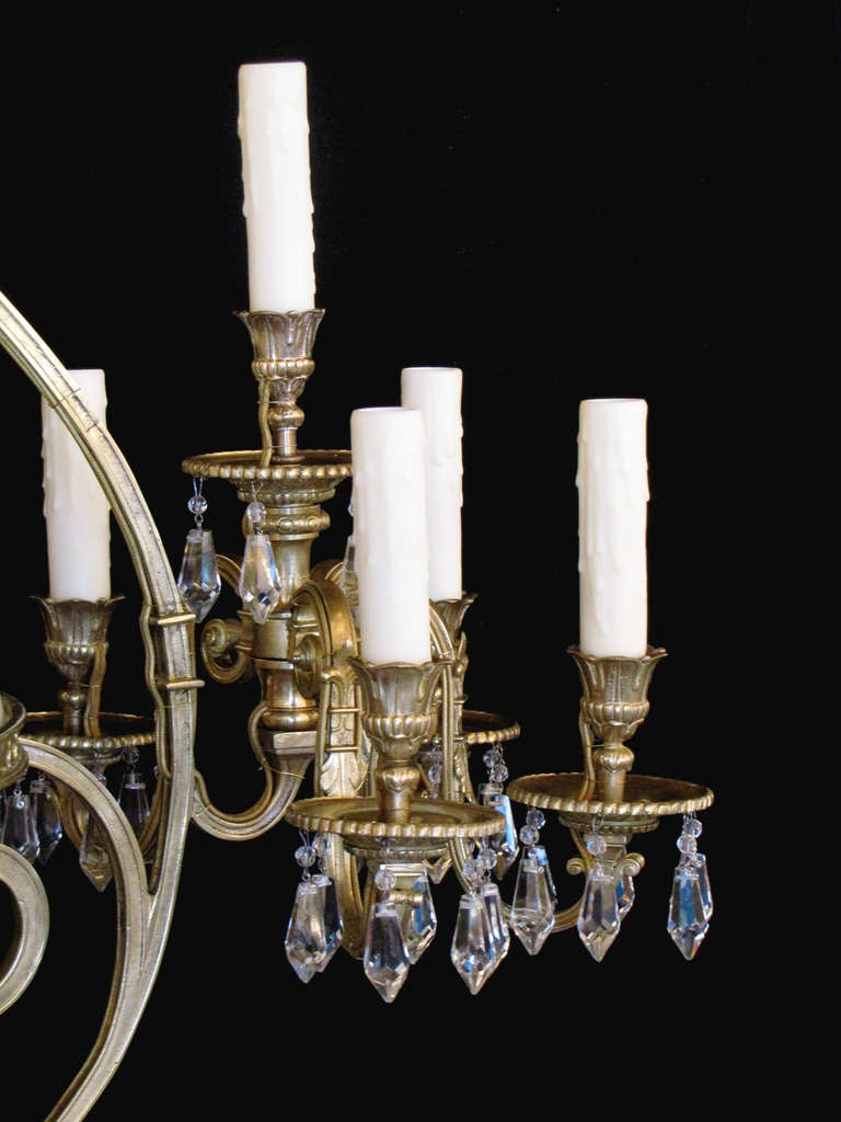 french oil and candle brass and crystal billiard light at