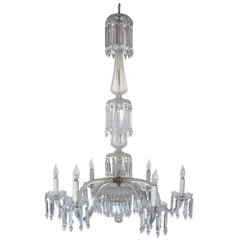 19th century 6 arm frosted crystal gasolier at 1stdibs
