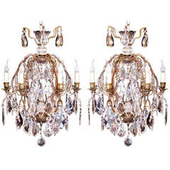 Pair of Small French Bronze and Crystal Chandeliers