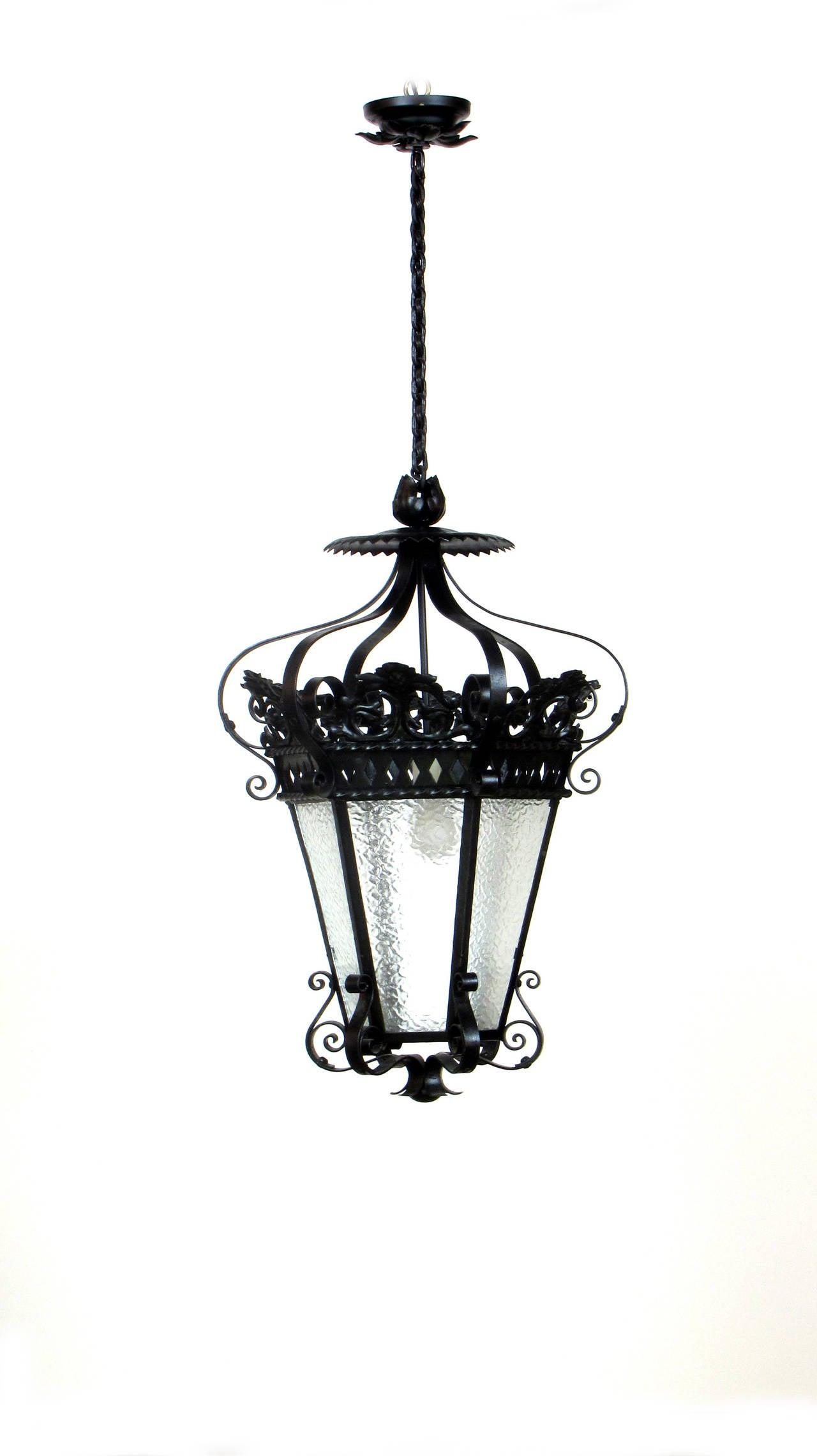 Wrought Iron And Glass Lantern At 1stdibs