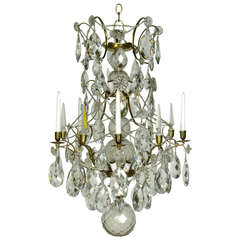 Swedish Baroque Bronze and Crystal Chandelier