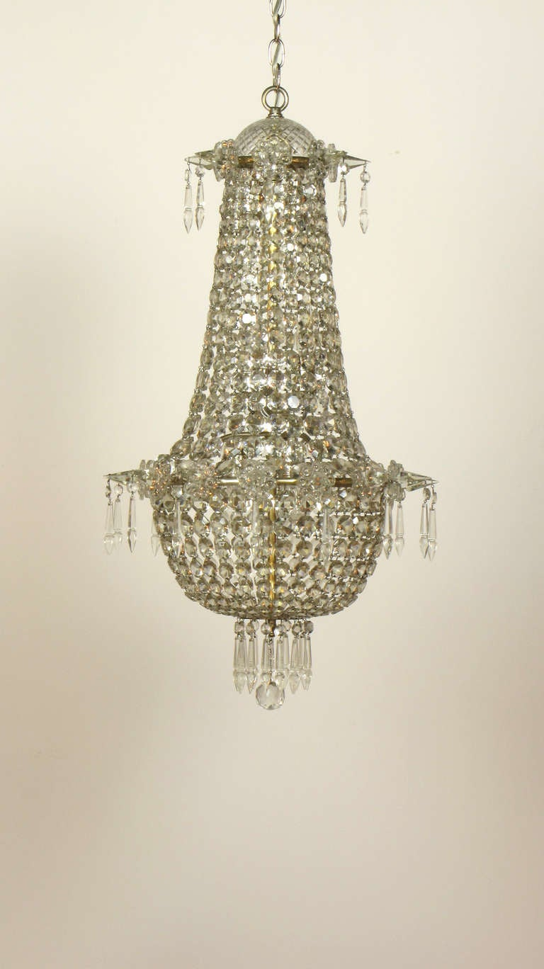 1920 39 s crystal foyer chandelier at 1stdibs - Chandeliers for foyer ...