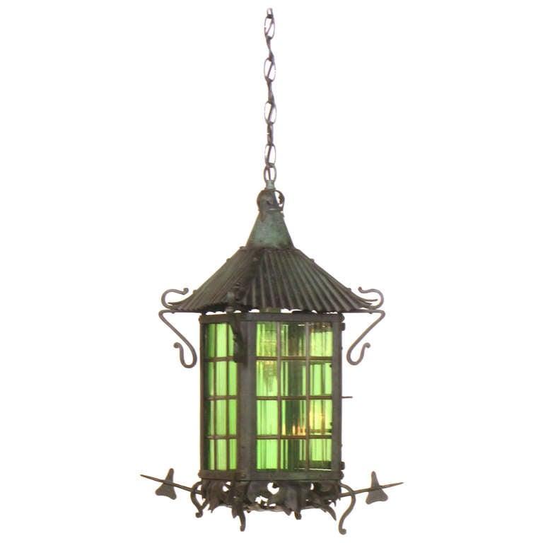 Arts And Crafts Green Glass Lantern At 1stdibs