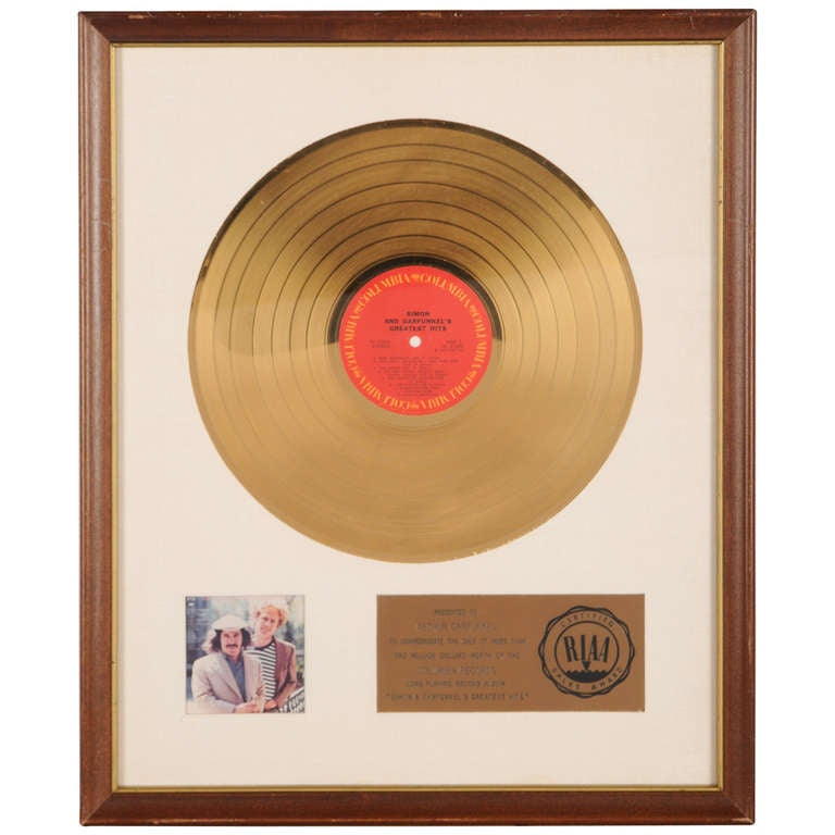 "Gold Disc to Art Garfunkel for the Album ""Simon and Garfunkels Greatest Hits"""