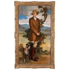 Carlo Romagnoli Large Oil on Canvas Portrait of Elizabeth Powell