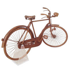 Unusual Life-Size Walnut, Raleigh Bicycle with Brooks Seat