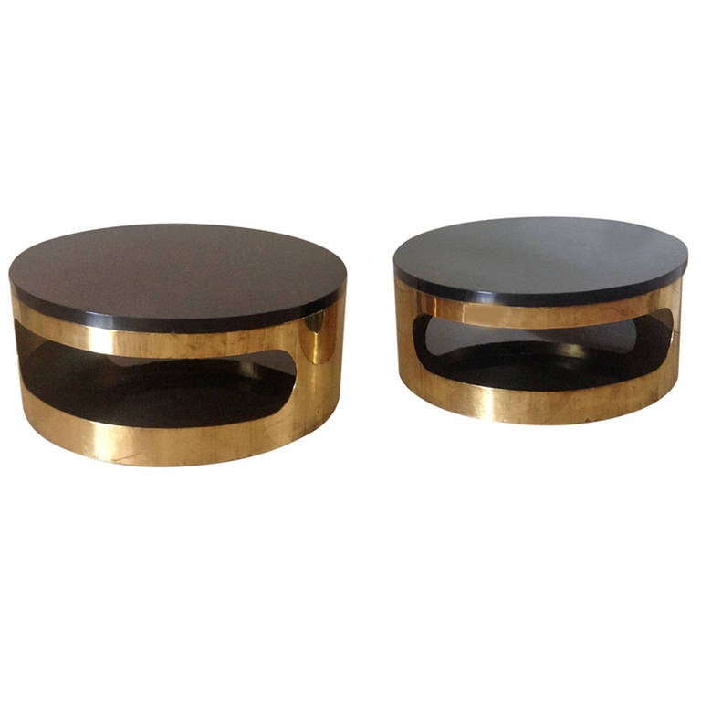 Pair Of 1970s Italian Gold Plated And Black Lacquer Circular Coffee Tables At 1stdibs