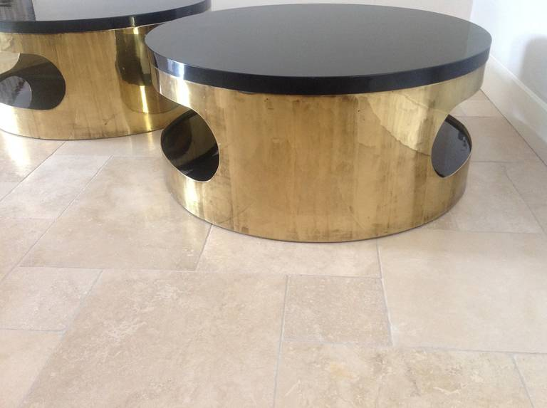 Pair Of 1970s Italian, Gold Plated And Black Lacquer Circular Coffee Tables  3