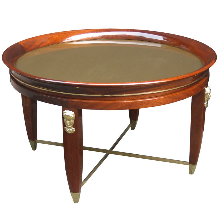 Art Deco Eglomise Glass Top Cocktail Table At 1stdibs