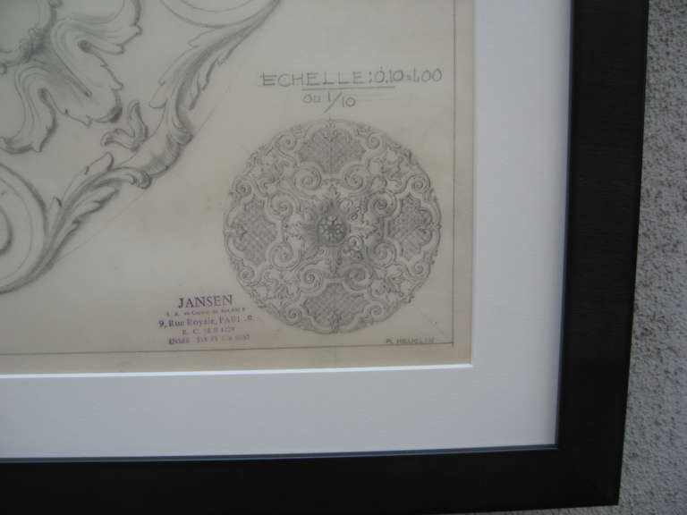 French Original Jansen Architectural Pencil Drawing For Sale