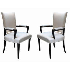 Pair of Modernist Ebonized Armchairs