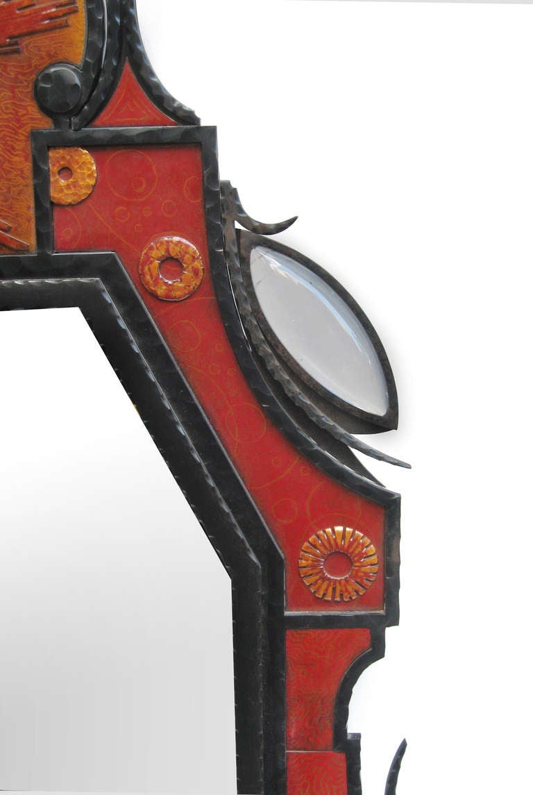 Rare and unusual mirror designed by André Dubreuil.