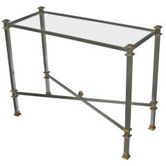Glass Top Bronze Console Table Attributed to Maison Jansen