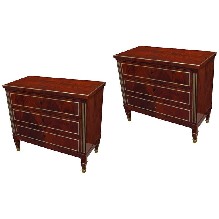 Fine Pair Of Neoclassical Chests Of Drawers At 1stdibs