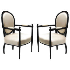 Pair of Ebonized Round Back Armchairs