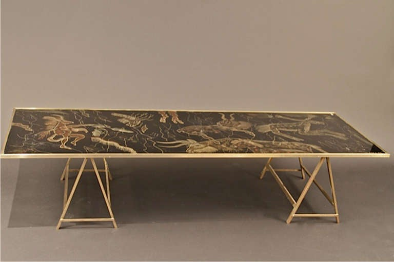 vintage brass coffee table with painted glass top for sale