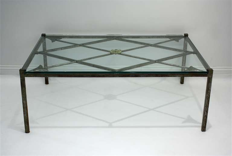 French Iron Base Coffee Table With Glass Top At 1stdibs