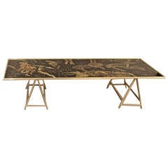 Vintage Brass Coffee Table with Painted Glass Top