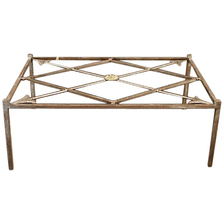 French Iron Base Coffee Table With Glass Top 1