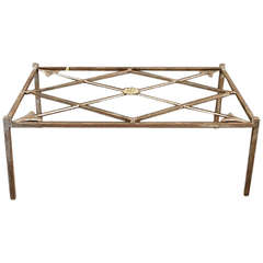 French Iron Base Coffee Table with Glass Top