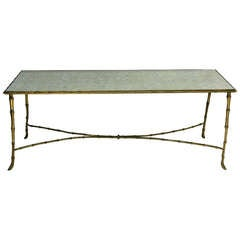 French Brass and Mirror Coffee Table