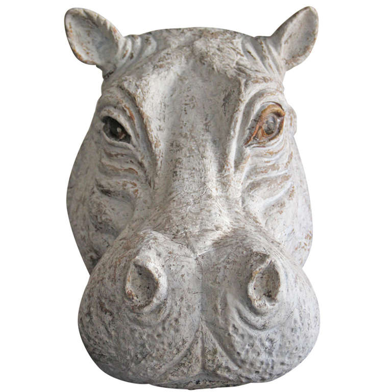 Papier Mâché Hippo Head at 1stdibs