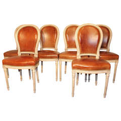 Set of Six Round-Back Fauteuil Chairs