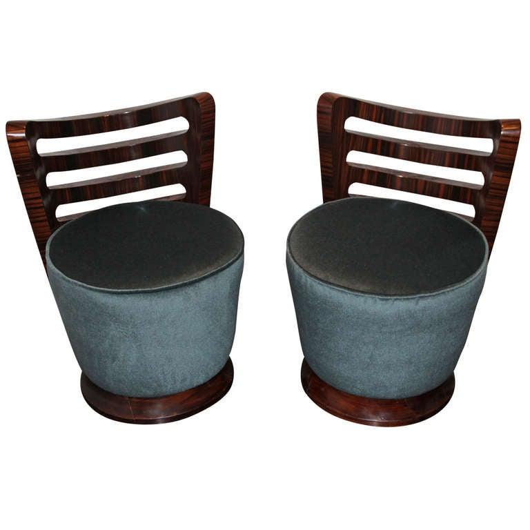 Pair Of Macassar Ebony Chairs 1