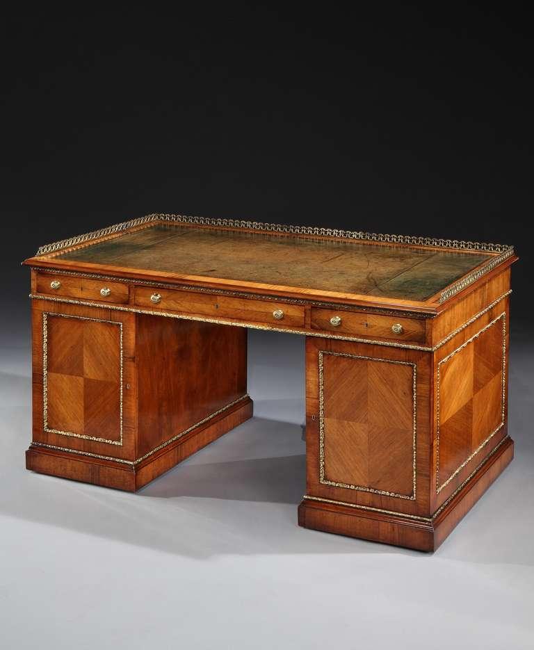An Edwardian Brass Mounted Cocobolo Pedestal Desk 4464821