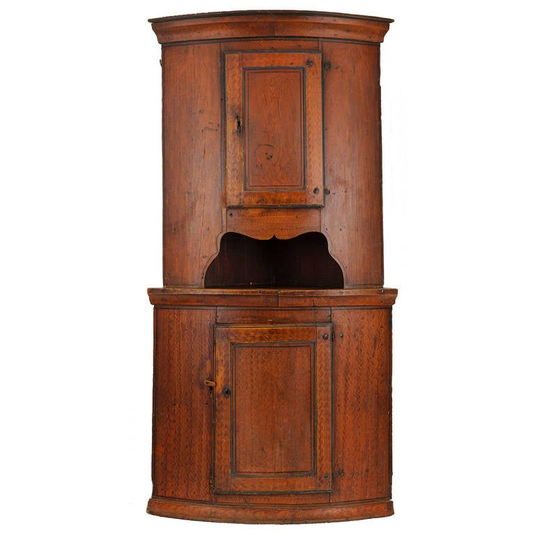 18th Century Corner Cabinet with Original Feather Painted Finish