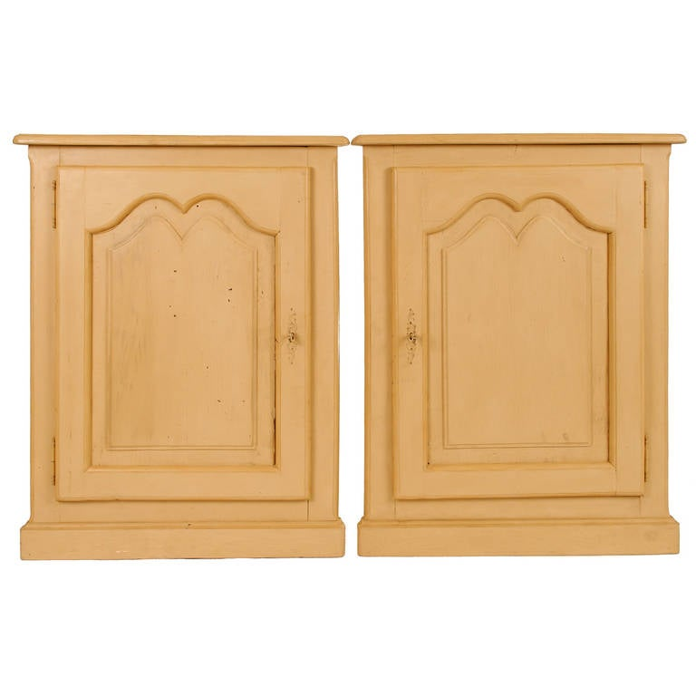 Pair of Painted Louis XV Style Corner Cabinets