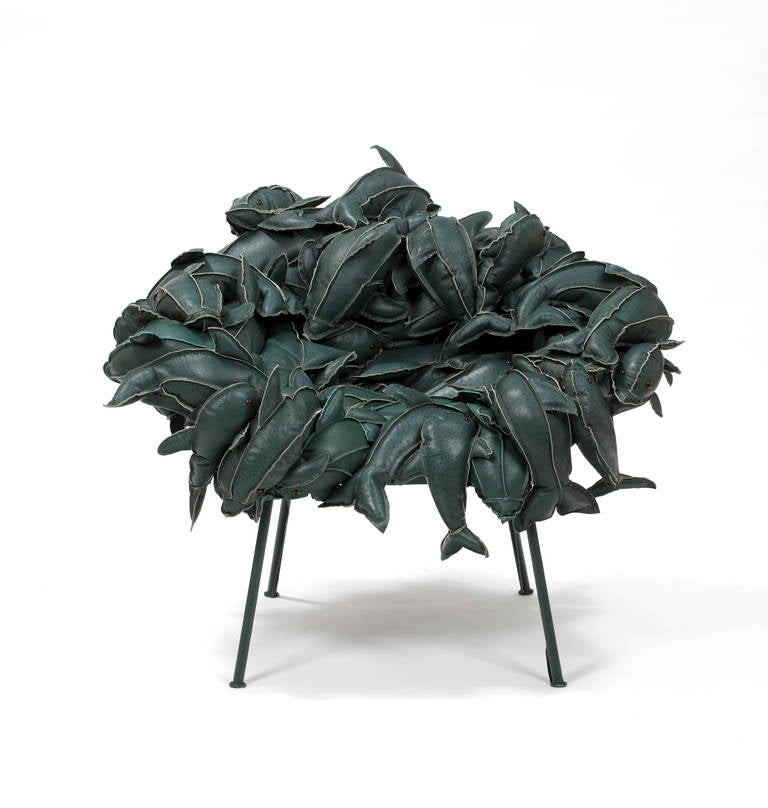 Fernando and Humberto Campana [Brazilian, b. 1961,1953] Banquete Dolphins in Leather, 2011 Stuffed leather dolphins and canvas on a stainless steel structure 34.65 x 39.37 x 45.28 inches 88 x 100 x 115 cm Edition of 8