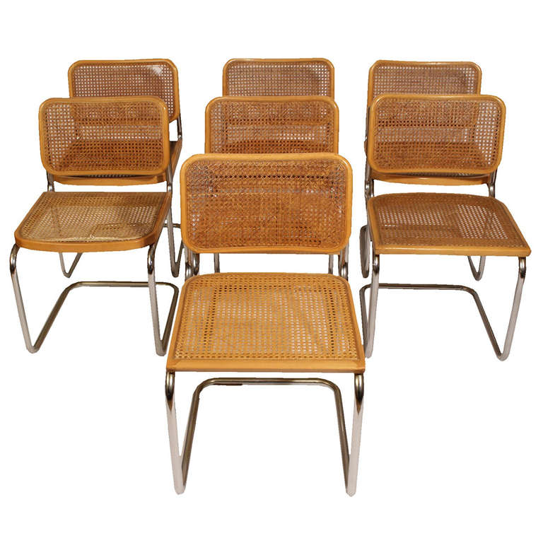 original set of seven cesca chair by marce breuer 60 39 s at 1stdibs. Black Bedroom Furniture Sets. Home Design Ideas