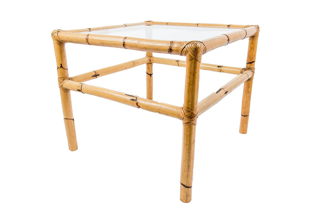 Vintage set of coffee and side tables in rattan at 1stdibs for Side coffee table set