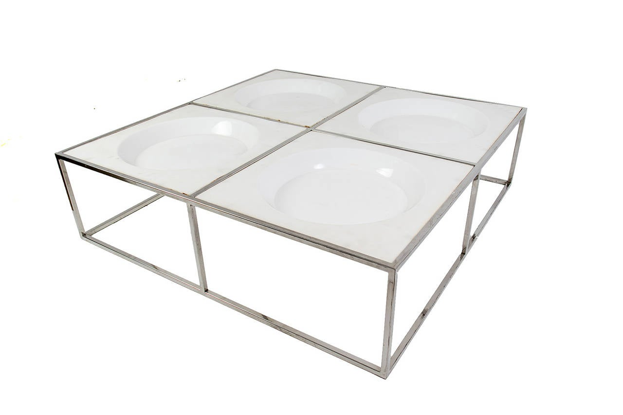 Square mid century steel coffee table at 1stdibs Metal square coffee table