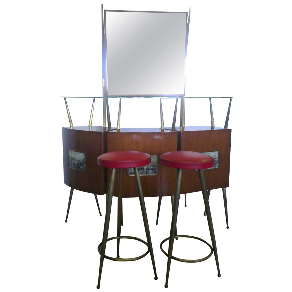Amazing 1950s Bar With Stools At 1stdibs