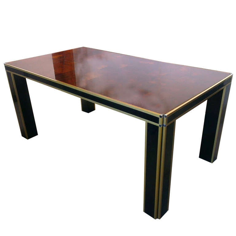 Black Lacquer Dining Room Table: Black Lacquered Dining Table 1970 At 1stdibs