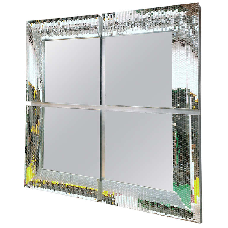 Big square mirror with mosaic tiles at 1stdibs for Large square mirror