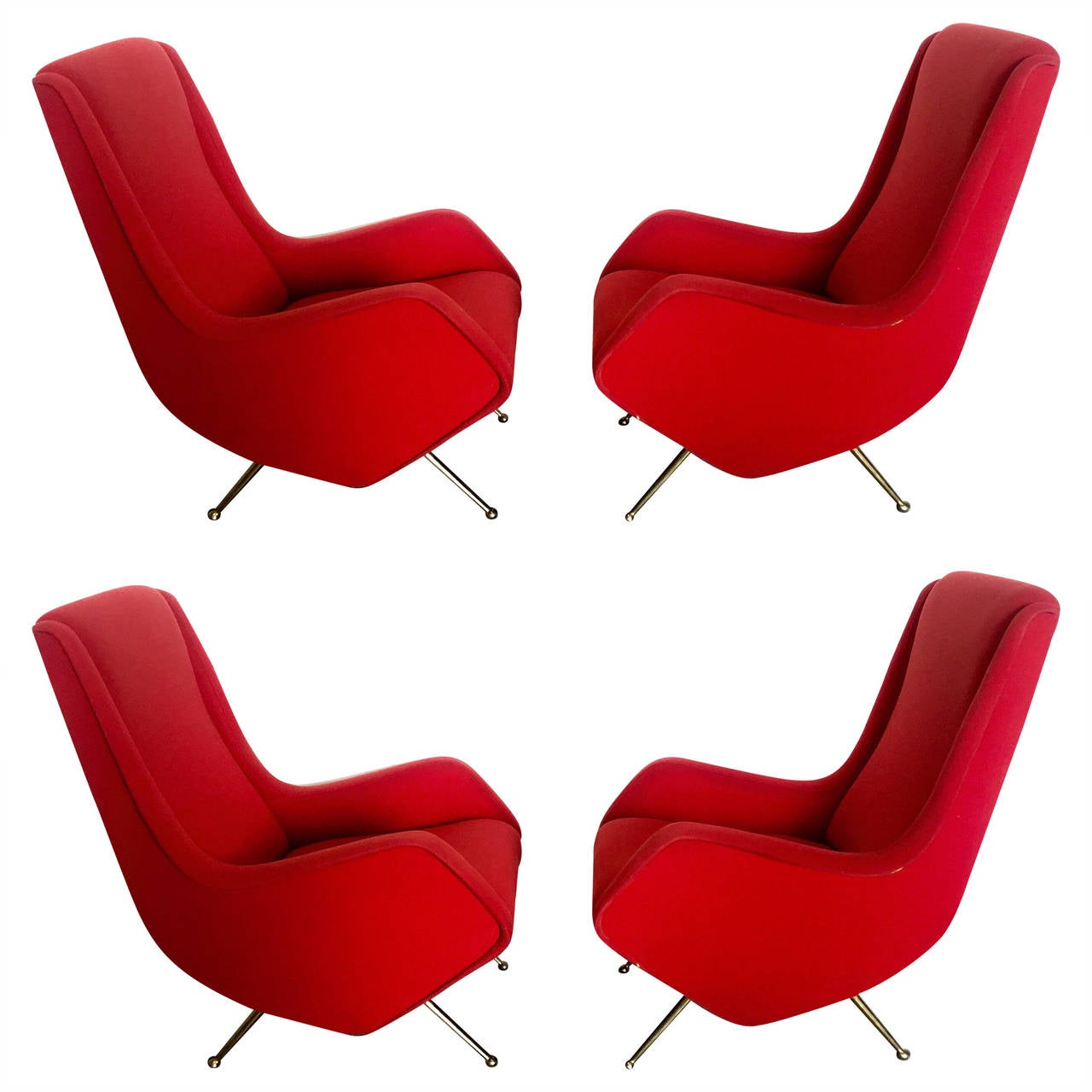Set of four armchairs by isa bergamo 1950 at 1stdibs for Isa arredamenti