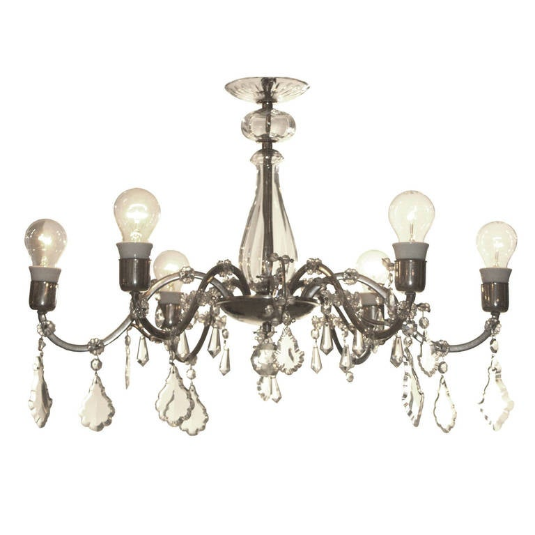 Charming 1950s Glass Chandelier