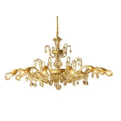 Richly Decorated Original Mid Century Modern Crystal Chandelier by Lobmeyr