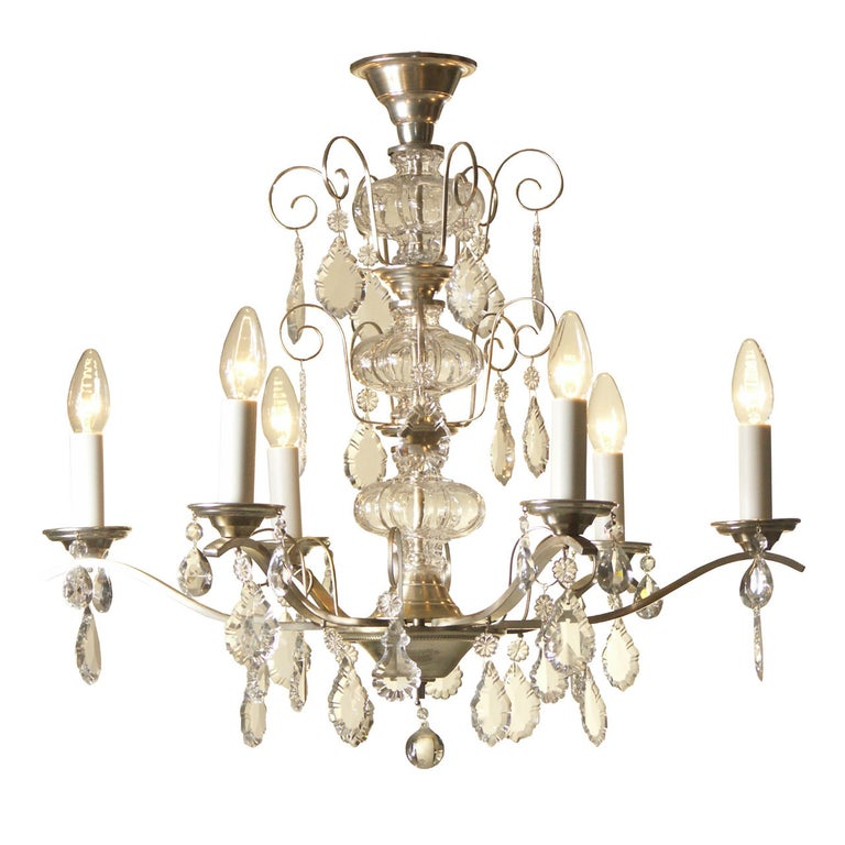 Very Charming and Elegant 1950s Mid Century Modern Crystal Chandelier -Original For Sale