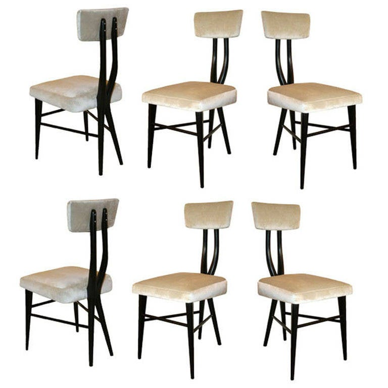 Sculptural Set of Six 1950s Dining Chairs