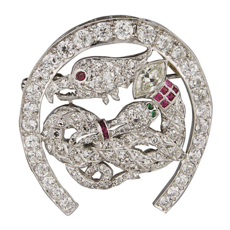 4.9 Carat Art Deco Ruby Emerald Diamond Platinum Brooch